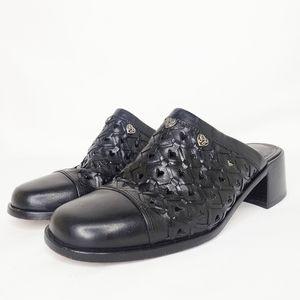 "Brighton Black ""Fanny"" Leather Mules 7M"